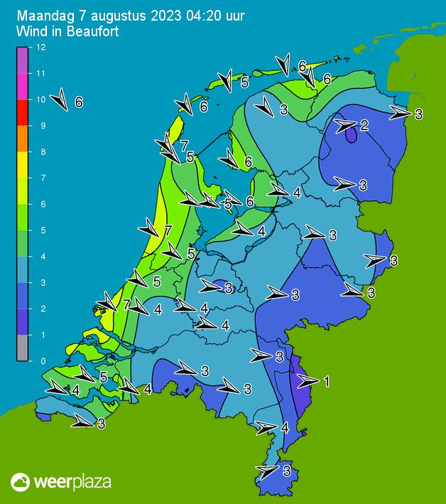 Klik voor actuele windkracht in Nederland