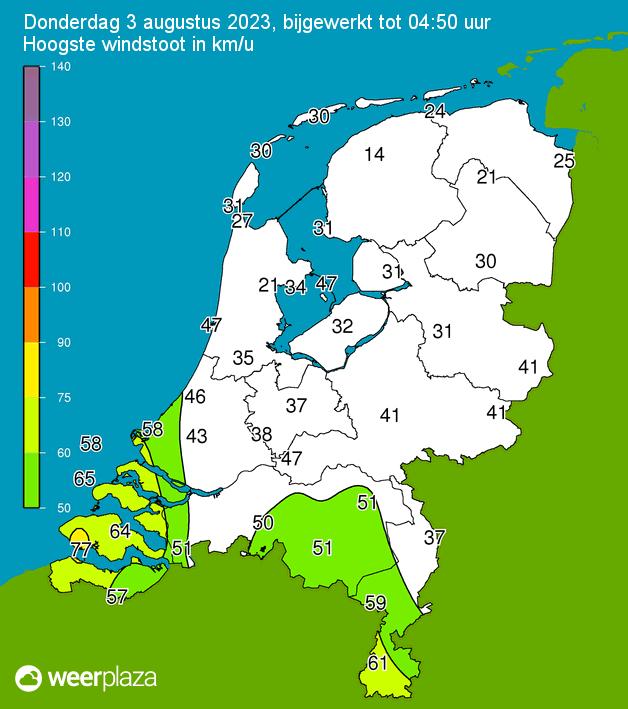 Klik voor hoogste windstoten in Km/u in Nederland