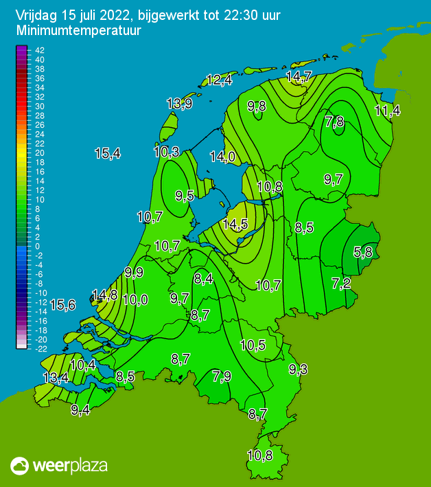 Klik voor minimumtemperatuur in Nederland
