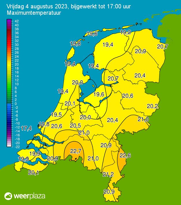 Klik voor hoogste windsnelheid in beaufort in Nederland